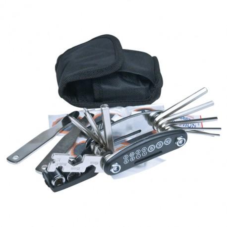 Zestaw narzędzi do naprawy usterek rowerowych.